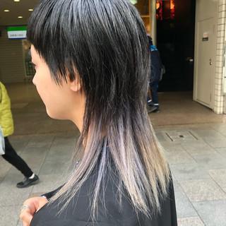 アッシュグラデーション ロング ブリーチカラー モード ヘアスタイルや髪型の写真・画像