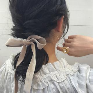 くるりんぱ デート 黒髪 簡単ヘアアレンジ ヘアスタイルや髪型の写真・画像