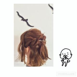 ねじり 編み込み くるりんぱ ボブ ヘアスタイルや髪型の写真・画像 ヘアスタイルや髪型の写真・画像