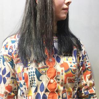 ストリート ミディアム ネイビーブルー ピンクラベンダー ヘアスタイルや髪型の写真・画像