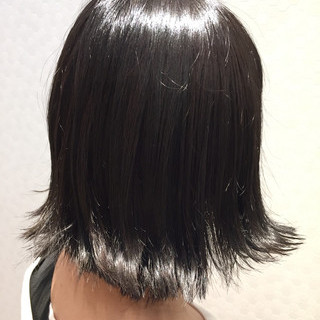 暗髪 アッシュグレー ボブ グレー ヘアスタイルや髪型の写真・画像