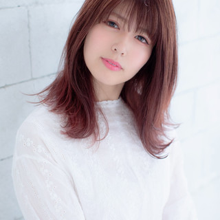 セミロング ナチュラルブラウンカラー ピンクブラウン ゆるふわ ヘアスタイルや髪型の写真・画像