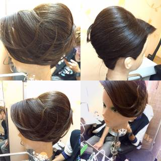 着物 セミロング ヘアアレンジ 大人女子 ヘアスタイルや髪型の写真・画像