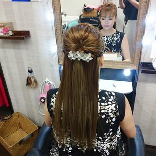 ヘアアレンジ ロング ナチュラル ストレート ヘアスタイルや髪型の写真・画像