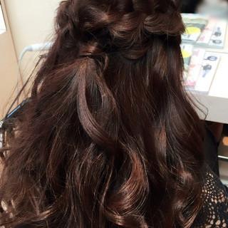 ハーフアップ ゆるふわ ロング 結婚式 ヘアスタイルや髪型の写真・画像