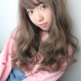 インナーカラー ガーリー パーマ ロング ヘアスタイルや髪型の写真・画像
