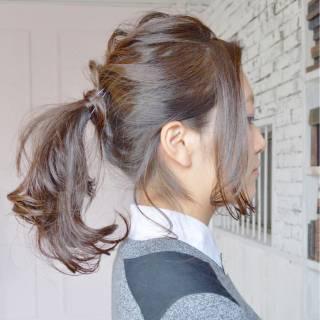 ナチュラル ポニーテール ヘアアレンジ ウェーブ ヘアスタイルや髪型の写真・画像