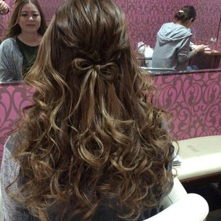 セミロング 編み込み 上品 ヘアアレンジ ヘアスタイルや髪型の写真・画像 ヘアスタイルや髪型の写真・画像
