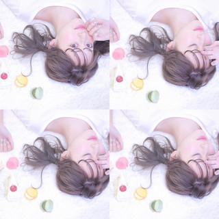 ミルクティー ガーリー ミディアム ヘアアレンジ ヘアスタイルや髪型の写真・画像