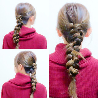 セルフヘアアレンジ ヘアアレンジ ロング 三つ編み ヘアスタイルや髪型の写真・画像
