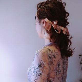 こなれ感 フェミニン 結婚式 ミディアム ヘアスタイルや髪型の写真・画像