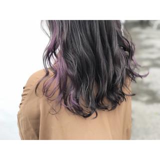女子力 透明感 セミロング インナーカラー ヘアスタイルや髪型の写真・画像 ヘアスタイルや髪型の写真・画像