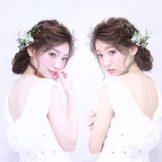 結婚式 セミロング ヘアアレンジ ブライダル ヘアスタイルや髪型の写真・画像