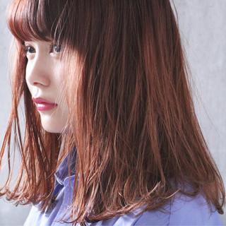 オレンジベージュ オレンジブラウン オレンジ セミロング ヘアスタイルや髪型の写真・画像 ヘアスタイルや髪型の写真・画像