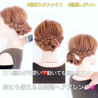アップスタイル フェミニン ロング 三つ編み ヘアスタイルや髪型の写真・画像