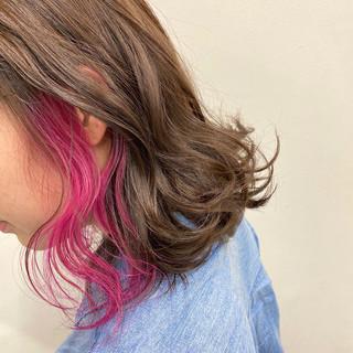インナーカラー 春 ショートボブ ロング ヘアスタイルや髪型の写真・画像