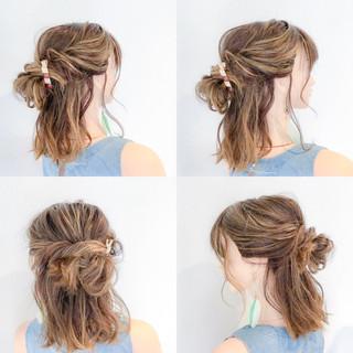 女子会 ナチュラル 簡単ヘアアレンジ ボブ ヘアスタイルや髪型の写真・画像
