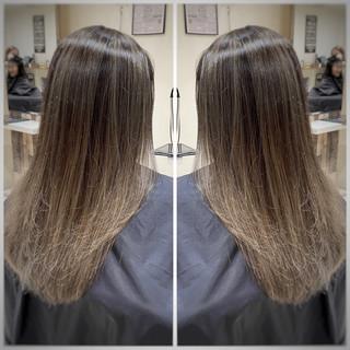 フェミニン セミロング 大人ハイライト ハイライト ヘアスタイルや髪型の写真・画像