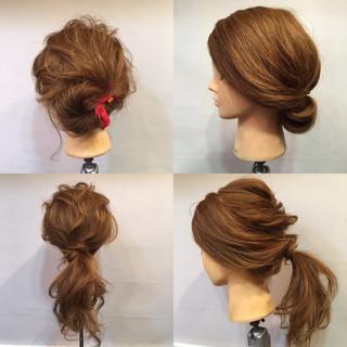 くるりんぱ ヘアアレンジ ナチュラル セミロング ヘアスタイルや髪型の写真・画像