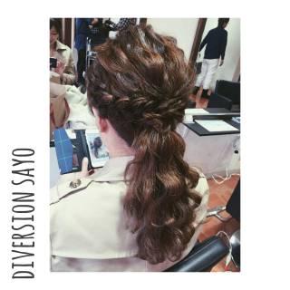 波ウェーブ ヘアアレンジ まとめ髪 編み込み ヘアスタイルや髪型の写真・画像