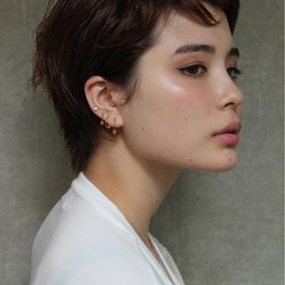 パーマ 暗髪 ショート 前髪あり ヘアスタイルや髪型の写真・画像 ヘアスタイルや髪型の写真・画像