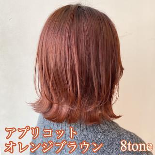 切りっぱなしボブ オレンジベージュ オレンジブラウン ナチュラル ヘアスタイルや髪型の写真・画像
