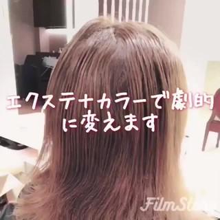 フェミニン ロング エクステ アッシュ ヘアスタイルや髪型の写真・画像