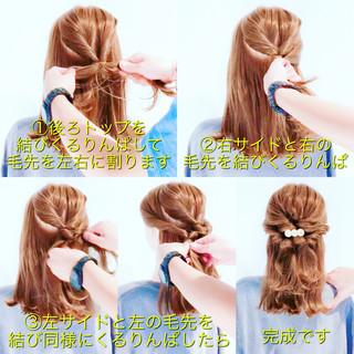ヘアアレンジ 簡単ヘアアレンジ エレガント セミロング ヘアスタイルや髪型の写真・画像
