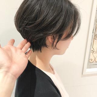 ナチュラル 暗髪女子 ショートヘア ショート ヘアスタイルや髪型の写真・画像
