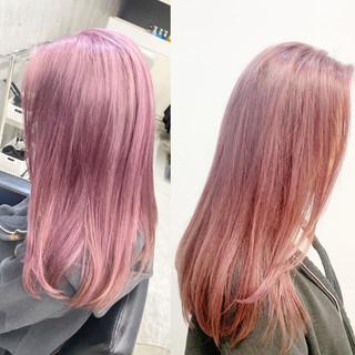 ナチュラル ピンク バレイヤージュ ロング ヘアスタイルや髪型の写真・画像
