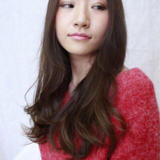 ロング バレイヤージュ ハイライト 外国人風 ヘアスタイルや髪型の写真・画像