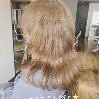 モテ髪 透明感 透明感カラー ミディアム ヘアスタイルや髪型の写真・画像