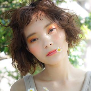 外ハネボブ メイク オレンジ ガーリー ヘアスタイルや髪型の写真・画像
