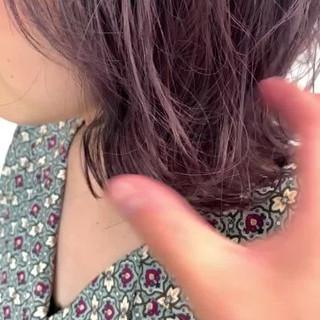 ボブ バレイヤージュ 外国人風カラー ピンクパープル ヘアスタイルや髪型の写真・画像
