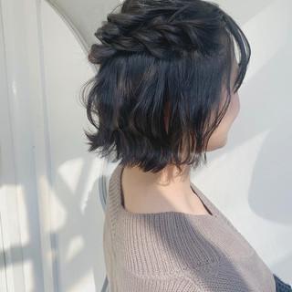 ハーフアップ ガーリー 簡単ヘアアレンジ ボブ ヘアスタイルや髪型の写真・画像