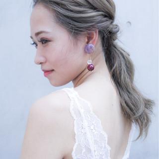 セミロング コンサバ ヘアアレンジ 夏 ヘアスタイルや髪型の写真・画像
