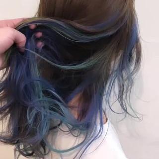バレイヤージュ インナーカラー ミディアム グラデーションカラー ヘアスタイルや髪型の写真・画像