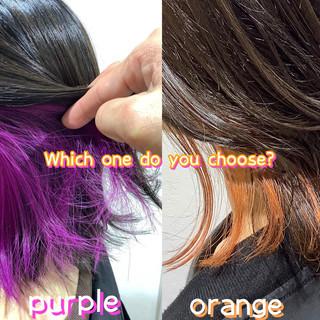 インナーピンク インナーカラーオレンジ インナーカラー インナーカラーパープル ヘアスタイルや髪型の写真・画像