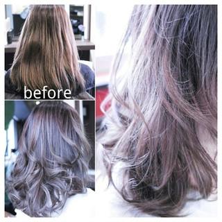 大人女子 フェミニン アッシュ ハイライト ヘアスタイルや髪型の写真・画像