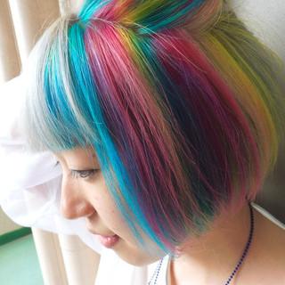 カラフルカラー ボブ ショートボブ カラートリートメント ヘアスタイルや髪型の写真・画像