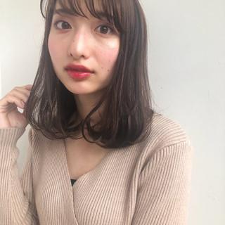 シースルーバング イルミナカラー ナチュラル 韓国ヘア ヘアスタイルや髪型の写真・画像