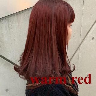 ガーリー カシスレッド アプリコットオレンジ レッドブラウン ヘアスタイルや髪型の写真・画像