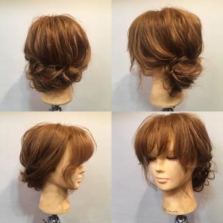 セミロング ヘアアレンジ 女子会 フェミニン ヘアスタイルや髪型の写真・画像