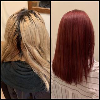ガーリー セミロング 韓国風ヘアー ブリーチカラー ヘアスタイルや髪型の写真・画像