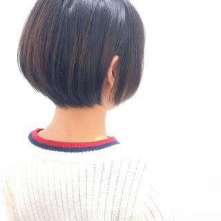 ショートボブ 小顔ヘア 黒髪 ショート ヘアスタイルや髪型の写真・画像