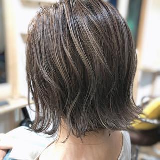 ボブ コントラストハイライト 大人ハイライト フェミニン ヘアスタイルや髪型の写真・画像