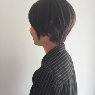 ネイビーアッシュ グレージュ 暗髪 ナチュラル ヘアスタイルや髪型の写真・画像