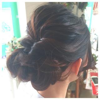 くるりんぱ セミロング 結婚式 ヘアアレンジ ヘアスタイルや髪型の写真・画像