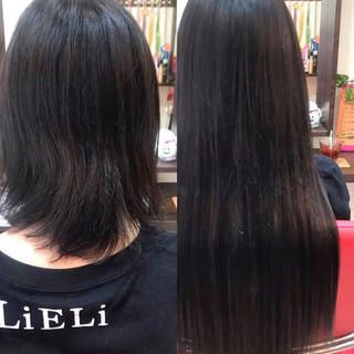 ウルフカット 黒髪 ナチュラル ロング ヘアスタイルや髪型の写真・画像