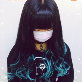 ロング メッシュ ストリート 巻き髪 ヘアスタイルや髪型の写真・画像